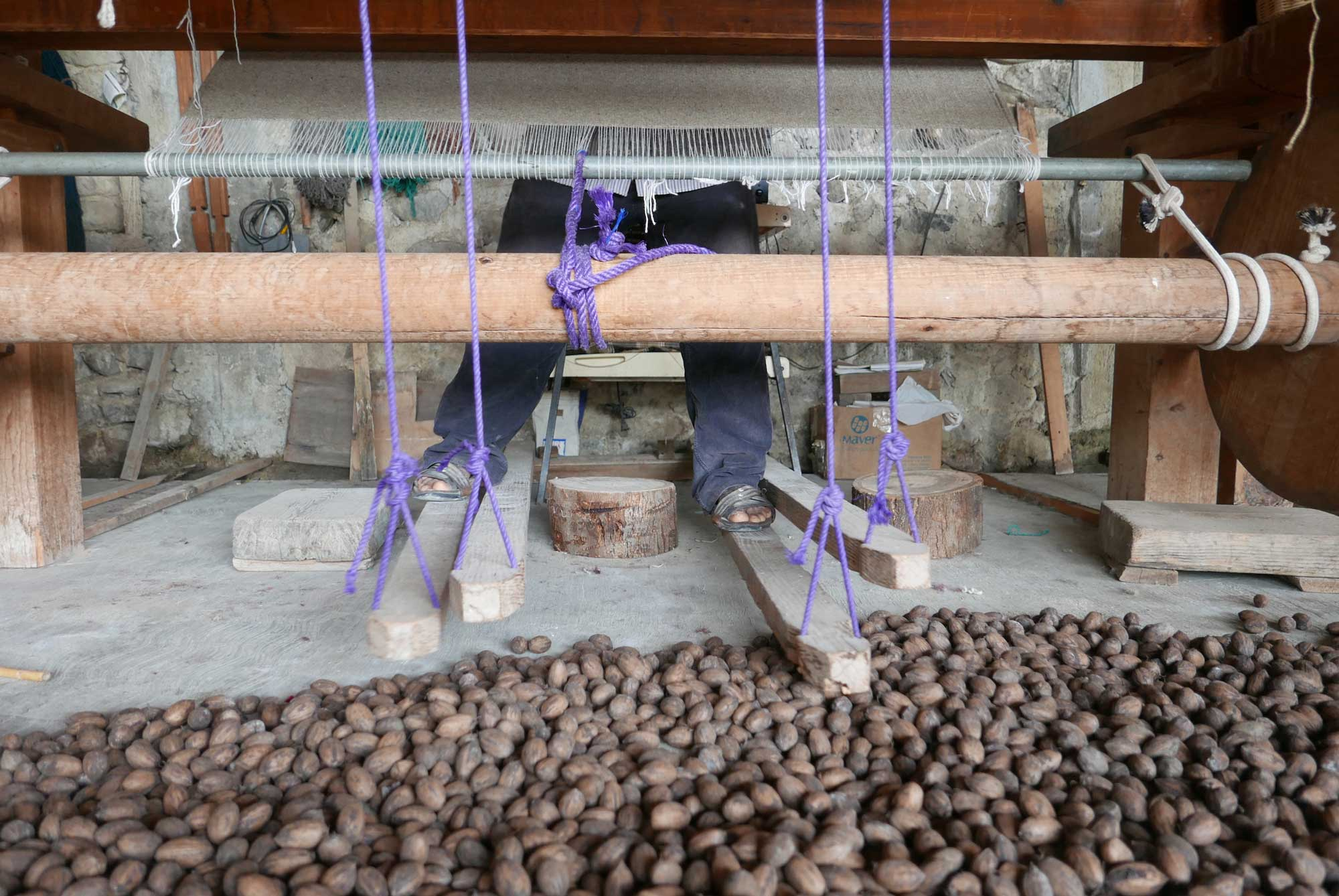 Artisan Weaving Mexican Zapotec Rug on a Foot Pedal Loom in Teotitlan de Valle Mexico