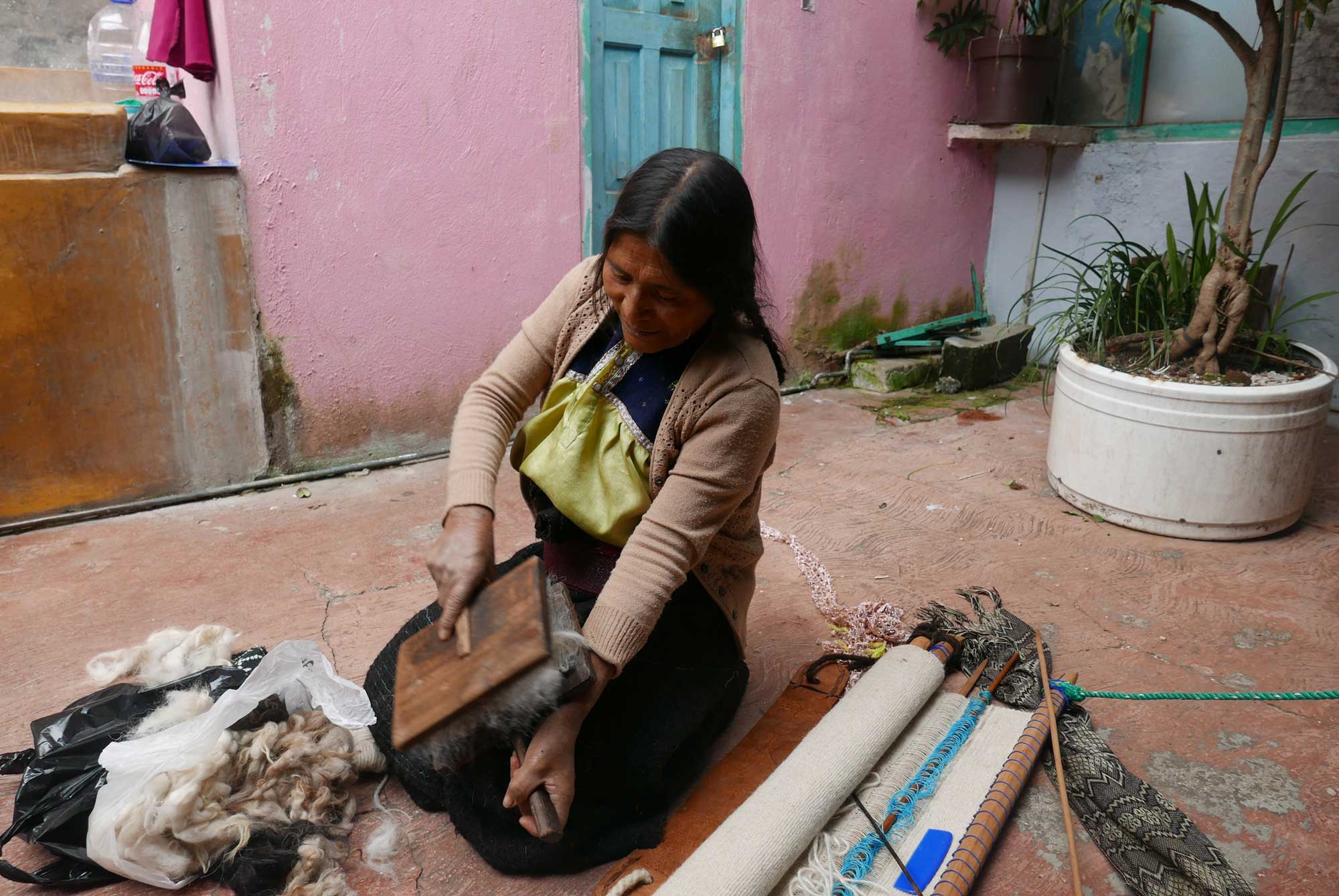 Artisan Carding Wool Textiles Chamula Chiapas Mexico