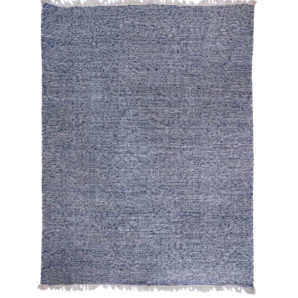 Guatemalan Blue and White Stripe Wool Rug