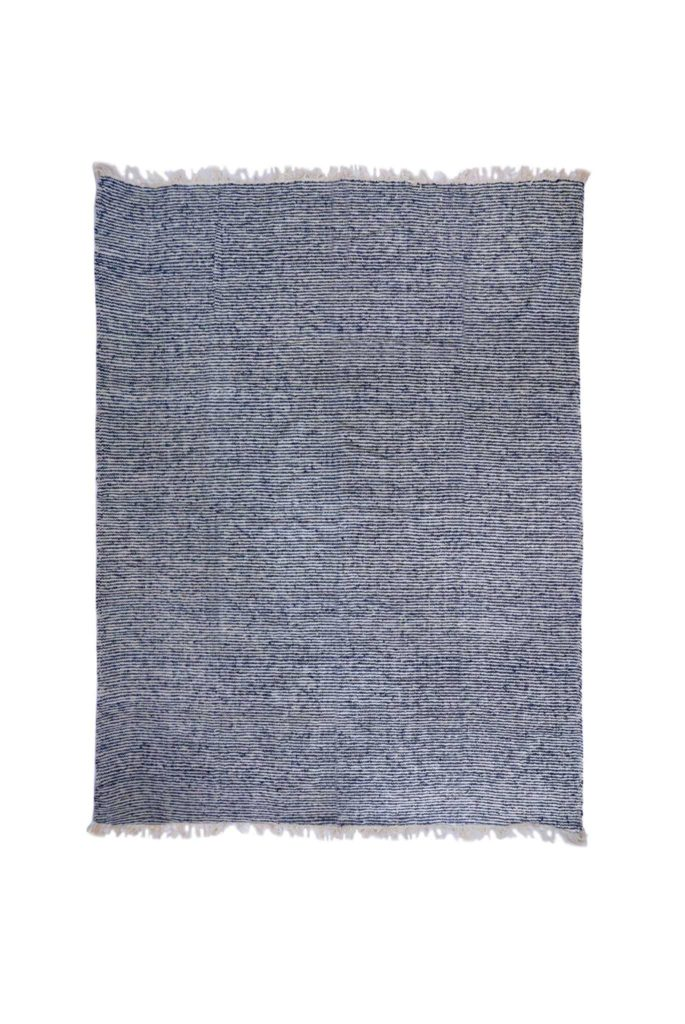 Guatemalan Blue and White Stripe Wool Rug
