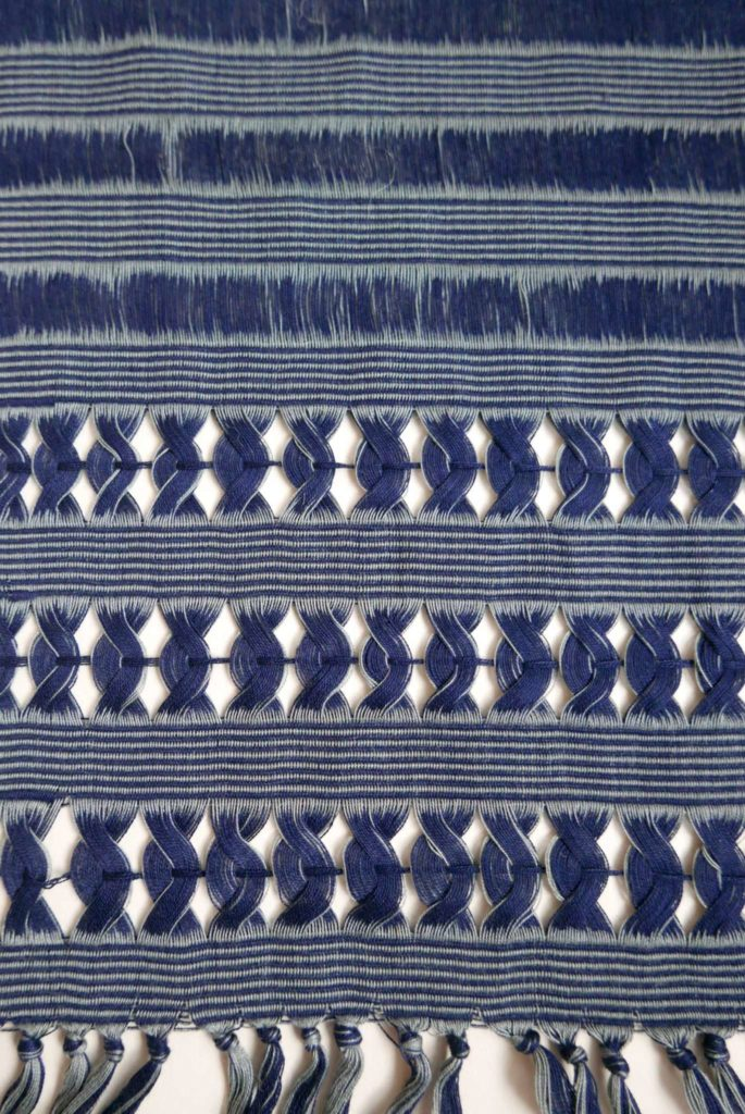 Backstrap Woven Indigo Deshilado Table Runner - www.nidocollective.com #tablerunner #backstrapweaving #mexicantablerunner #deshilado