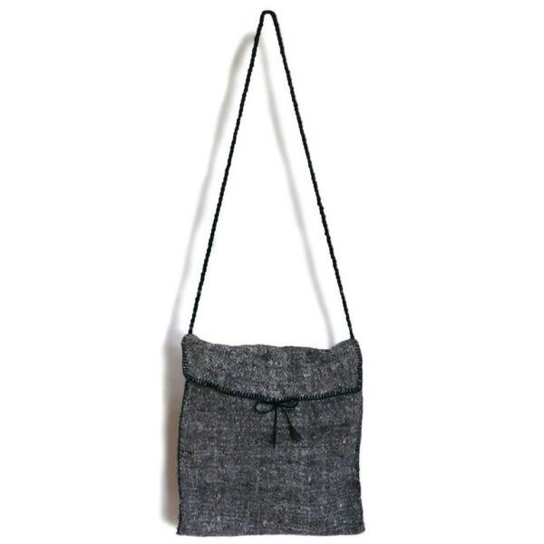 Grey Lana Wool Cross Body Bag - www.nidocollective.com #woolbag #backstrapweaving #mexicanhandmade #mexicanbag
