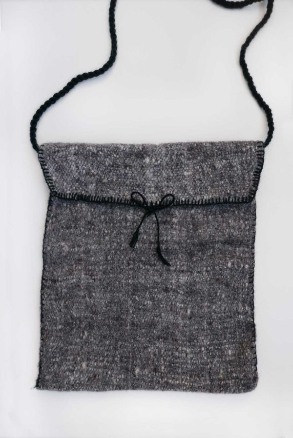 Charcoal Lana Wool Cross Body Bag - www.nidocollective.com #woolbag #backstrapweaving #mexicanhandmade #mexicanbag