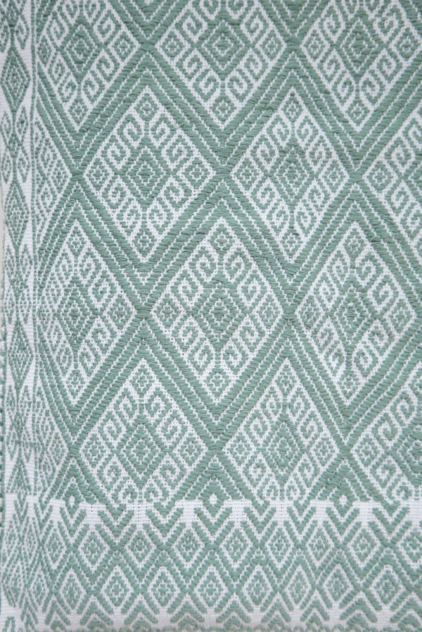 Handwoven Cushion in Mint - www.nidocollective.com #embroideredcushion #backstrapweaving #mexicancushion