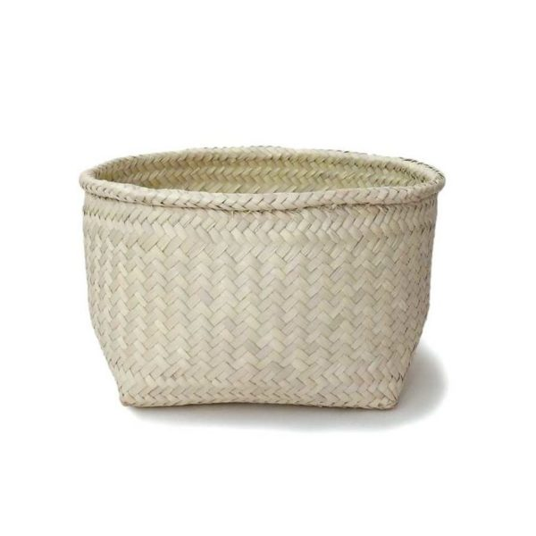 Medium Handmade Palm Storage Basket - www.nidocollective.com #mexicanbasket #palmweaving #palmbasket #storagebasket