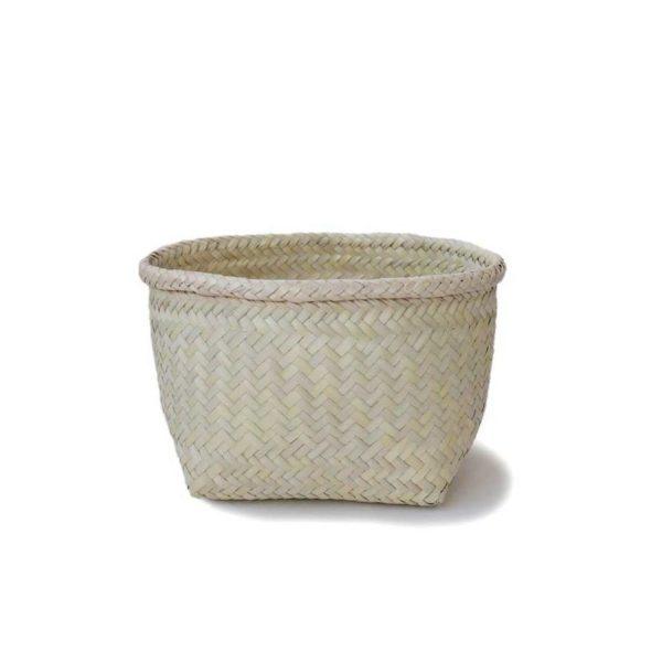 Small Handmade Palm Storage Basket - www.nidocollective.com #mexicanbasket #palmweaving #palmbasket #storagebasket