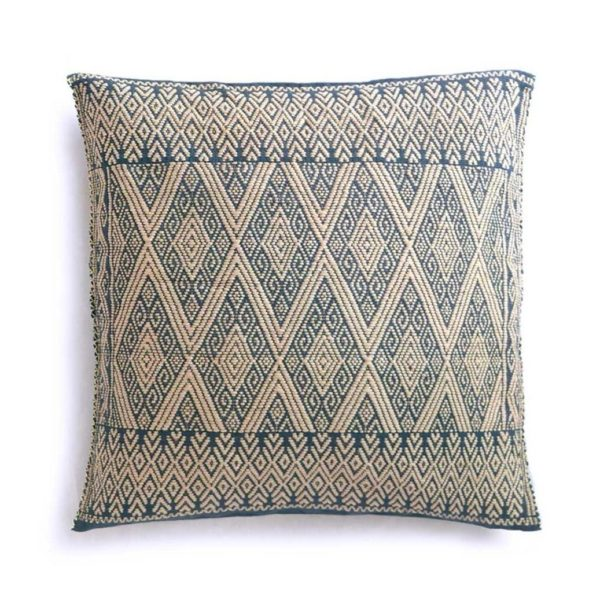 Mexican Cream Grey San Andres Cushion - www.nidocollective.com #embroideredcushion #backstrapweaving #mexicancushion
