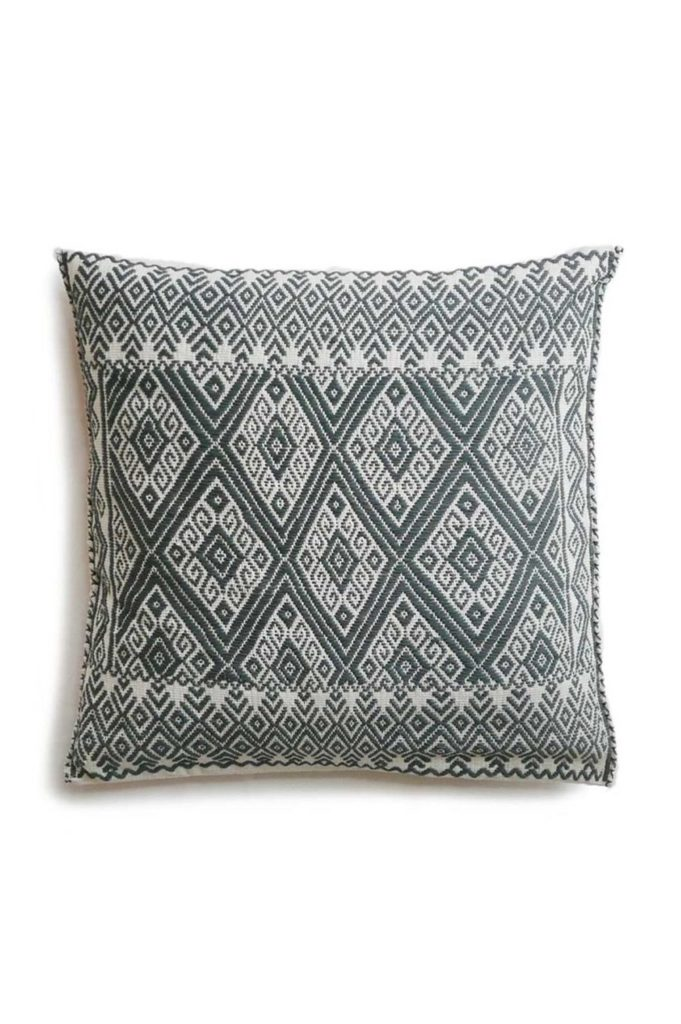 Mexican Grey San Andres Cushion - www.nidocollective.com #embroideredcushion #backstrapweaving #mexicancushion