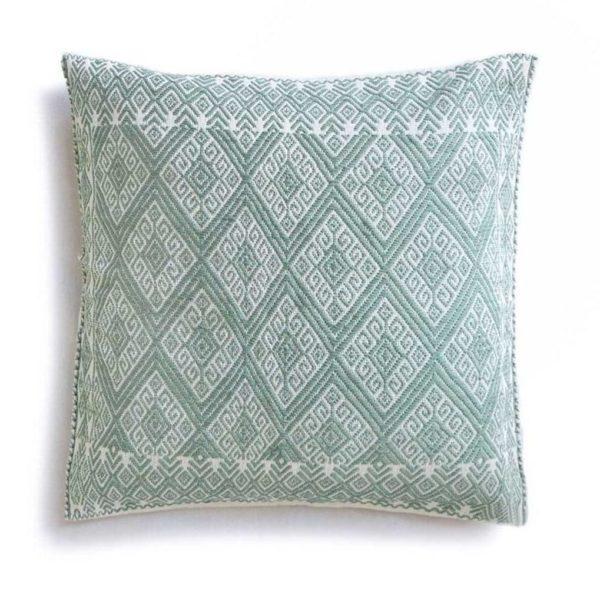 Mexican Mint San Andres Cushion - www.nidocollective.com #embroideredcushion #backstrapweaving #mexicancushion