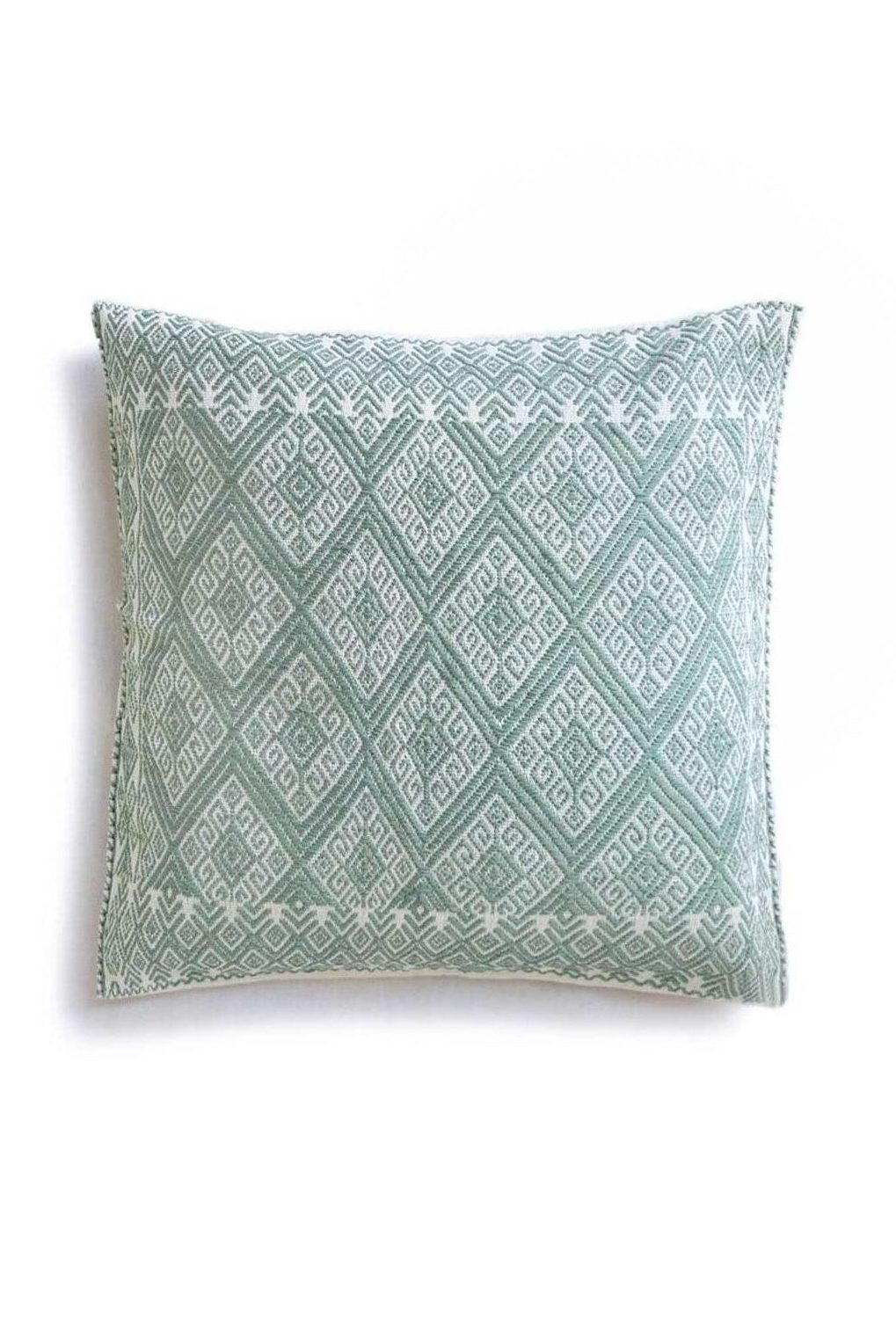 Mexican Mint San Andres Cushion - www.nidocollective.com #embroideredcushion #backstrapweaving #mexicancushion