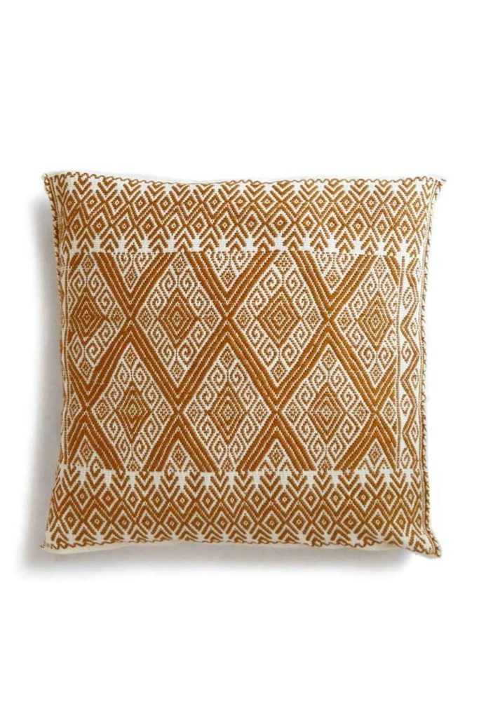 Mexican Mustard San Andres Cushion - www.nidocollective.com #embroideredcushion #backstrapweaving #mexicancushion