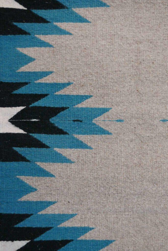 Handmade Turquoise Grey Zapotec Mexican Wool Rug- www.nidocollective.com #mexicanrug #zapotecrug #teotitlandelvalle