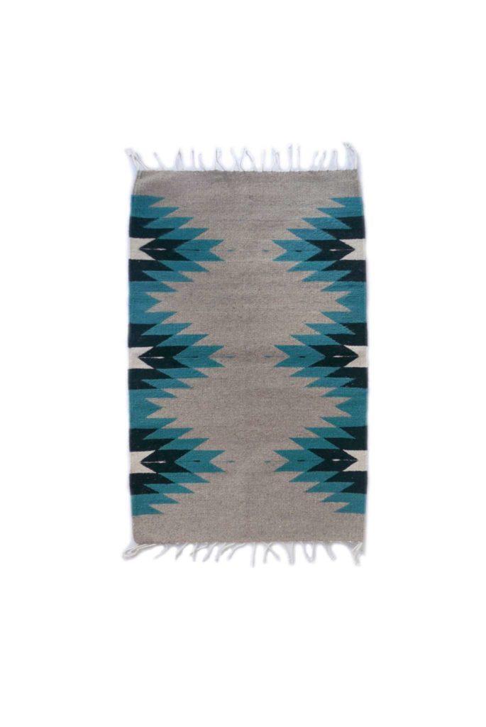 Handmade Turquoise Grey Zapotec Mexican Wool Rug - www.nidocollective.com #mexicanrug #zapotecrug #teotitlandelvalle