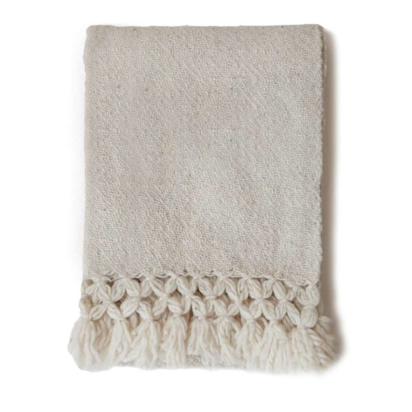 Mexican Cream Wool Rebozo Throw - www.nidocollective.com #mexicantextiles #woolthrow