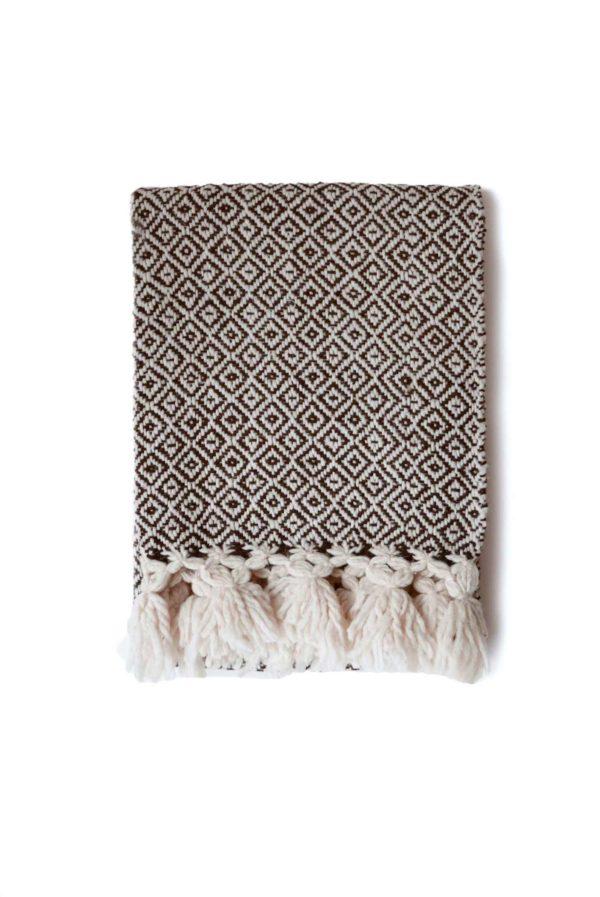 Mexican Dark Brown Wool Rebozo Throw - www.nidocollective.com #mexicantextiles #woolthrow