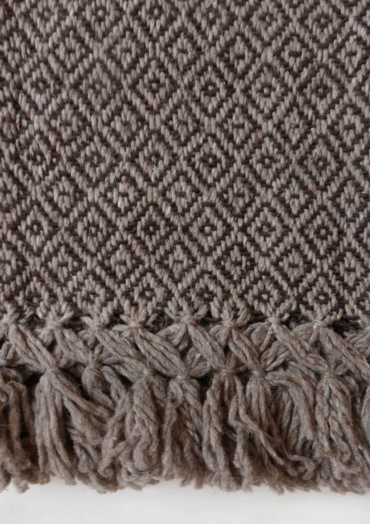 Mexican Coffee Wool Rebozo Throw Close - www.nidocollective.com #mexicantextiles #woolthrow