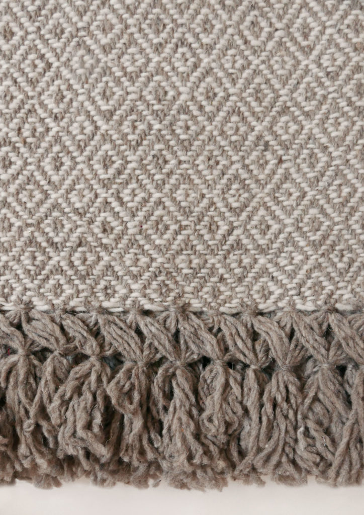 Mexican Taupe Wool Rebozo Throw Close - www.nidocollective.com #mexicantextiles #woolthrow