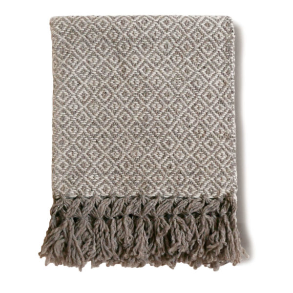 Taupe Wool Rebozo Throw - www.nidocollective.com #mexicantextiles #woolthrow