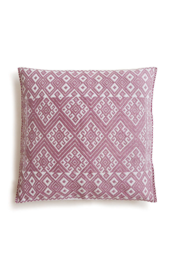 Mexican Dusty Pink Cristobal Cushion - www.nidocollective.com #embroideredcushion #backstrapweaving #mexicancushion