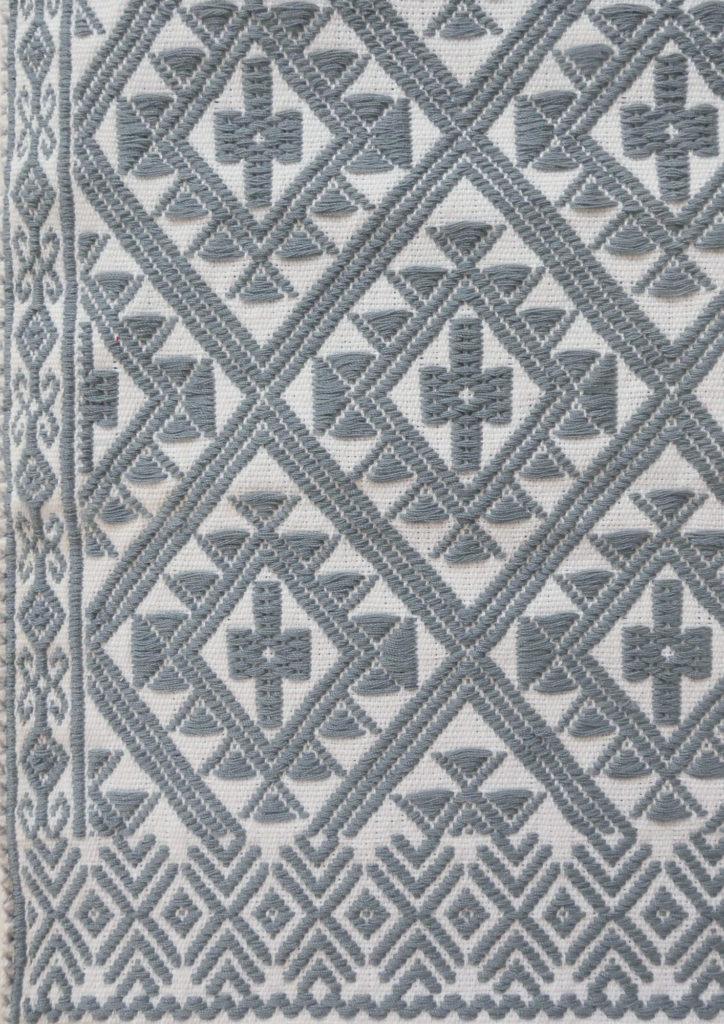 Mexican Light Blue Chiapas Cushion - www.nidocollective.com #embroideredcushion #backstrapweaving #mexicancushion