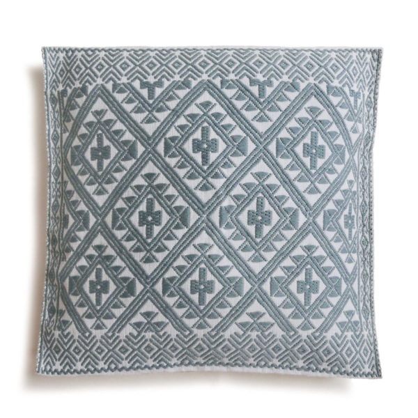 Mexican Light Blue Chiapas Cushion - www.nidocollective.com #embroideredcushion #backstrapweaving #mexicancushion