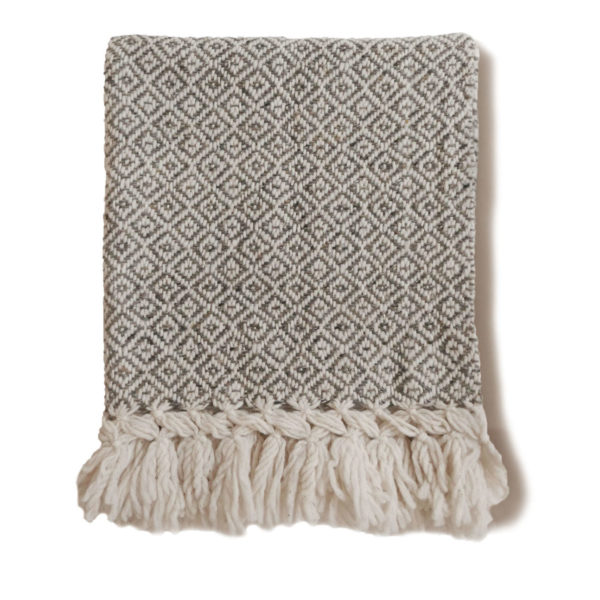 Mexican Light Taupe Wool Rebozo Throw - www.nidocollective.com #mexicantextiles #woolthrow