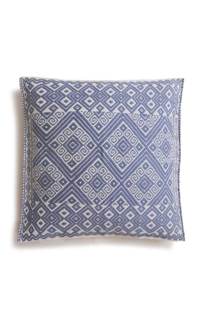 Mexican Powder Blue Cristobal Cushion - www.nidocollective.com #embroideredcushion #backstrapweaving #mexicancushion