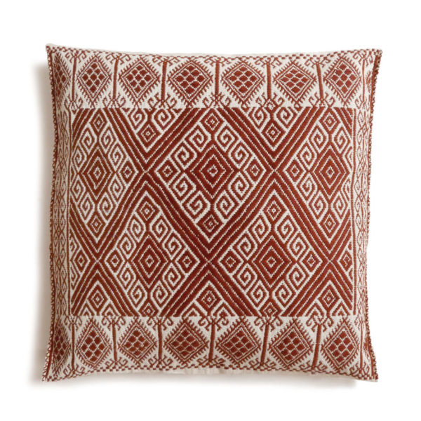 Mexican Burgundy San Andres Cushion - www.nidocollective.com #embroideredcushion #backstrapweaving #mexicancushion