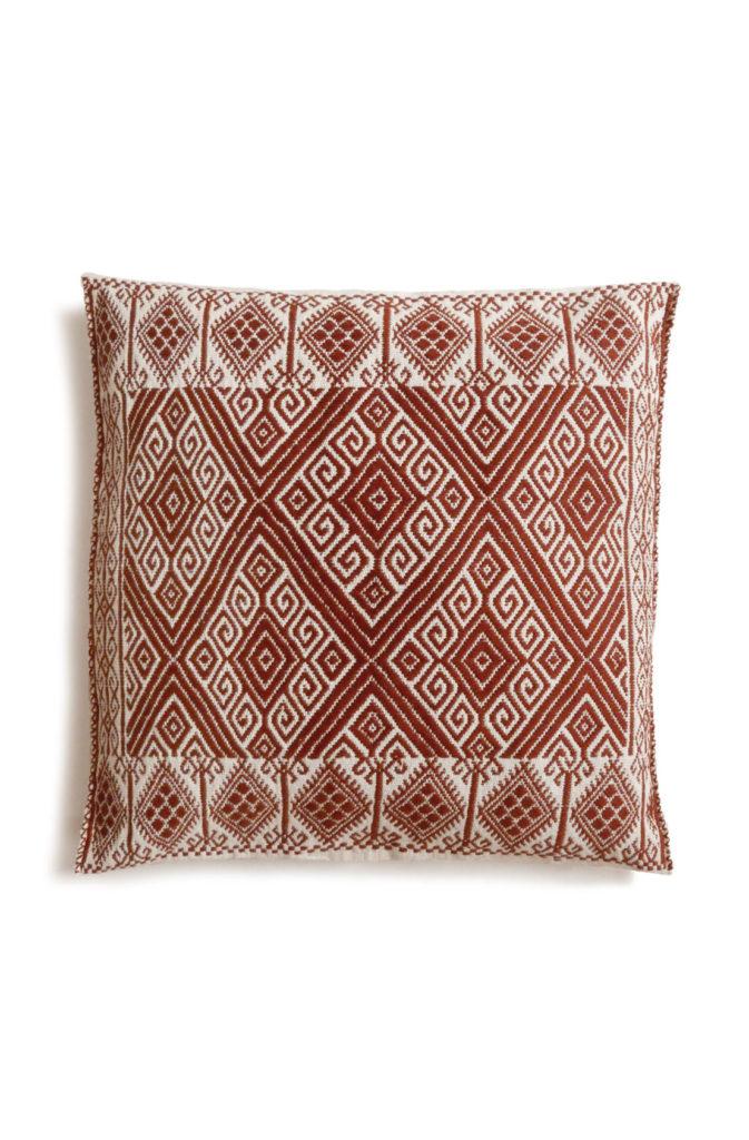 Mexican Burgundy San Andres Cushion - www.nidocollective.com #embroideredcushion #backstrapweaving #mexicancushion