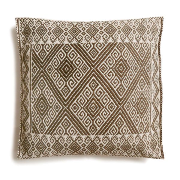 Mexican Khaki San Andres Cushion - www.nidocollective.com #embroideredcushion #backstrapweaving #mexicancushion