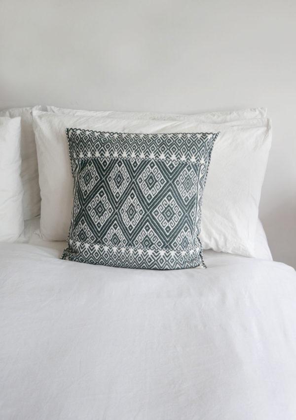 Mexican Grey San Andres Cushion - www.nidocollective.com #embroideredcushion #greyembroideredcushion #mexicancushion